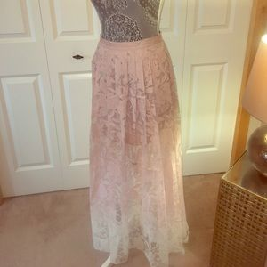So very pretty pink to white ombré pleated skirt